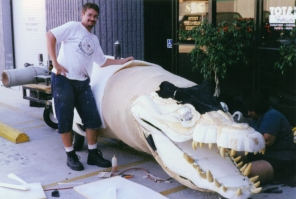 Working on a giant hydraulic crocodile, 1999.