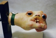 Animatronic hand creature with skin on, 1995.